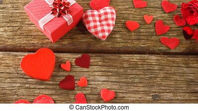 4k, serce, boks, drewniany, formułować, dar, confettis,...