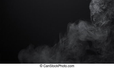 4k shooting of white smoky clouds on black background