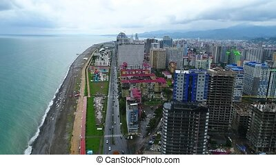 4k shot of Batumi urban area and the city