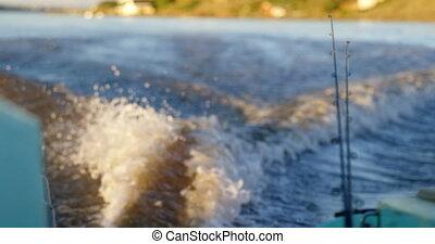 4k, sillage, bateau, rivière