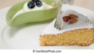 4K - Slice of almond cake