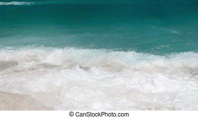 4k slow motion beautiful video of blue sea waves breaking...