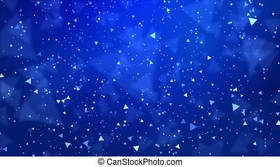 4k Slowly falling bokeh, glitter lights loop Christmas Background Blue Particles.