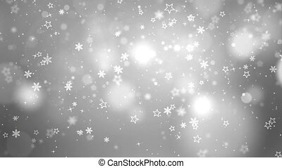 4k Snowflakes background. Falling snow flakes loop Animation...