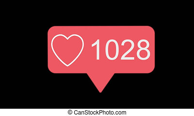 4K social media red heart counter, shows likes over time on a transparent background with alpha matte