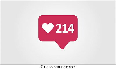 4K social media red Likes Counter, Shows Likes Over Time. -...