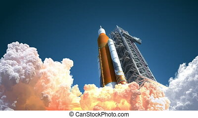4K. Space Launch System Takes Off. 3D Animation. Ultra High Definition. 3840x2160.
