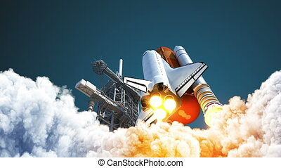 4K. Space Shuttle Takes Off. 3D Animation. Ultra High Definition. Slow Motion. 3840x2160.
