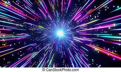 4k Abstract Speed of light Light Streaks Multicolor neon glowing rays and stars in motion Lines hyperspace Loop background. Moving through stars. For event, concert, festival, show, party, Awards,