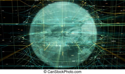 4K spinning holographic HUD Earth. Seamless looping...