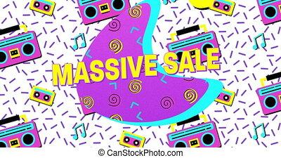 4k, sprzedaż, śmiały, masywny, eighties, retro, reklama,...
