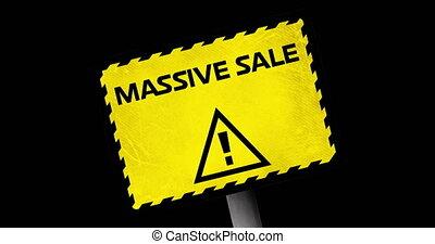 4k, sprzedaż, masywny, znak, tekst, żółty, ostrzeżenie