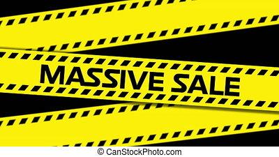 4k, sprzedaż, wstążka, masywny, tekst, żółty, przemysłowy