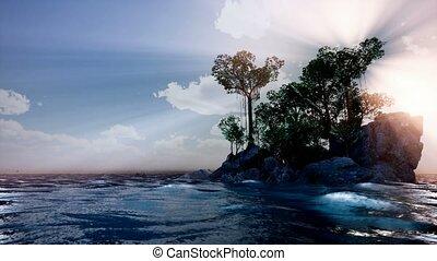 4k Sun beams through Trees at rocky island in ocean at sunset