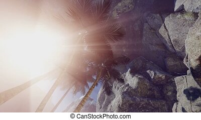4k sun light inside beautiful mysterious cave