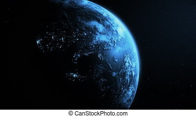 4K Sunrise over the Planet Earth.
