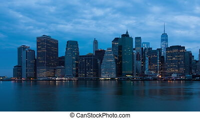 4k Sunrise timelapse of Manhattan skyline in new york - USA