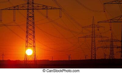 4K Sunset time lapse electric poles