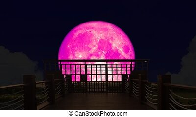 4k Super pink moon rise back on silhouette bridge on the night sky