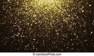 4K Super slow motion Abstract glittering golden particles Light on black Loop background. event, concert, festival, music, show, party, Awards, fashion, Music, festival, night, stage Animation