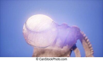 4K Super slow motion Baseball and mitt at blue sky...
