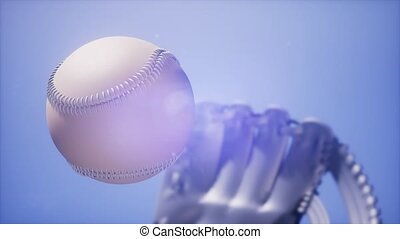 4K Super slow motion Baseball and mitt at blue sky...