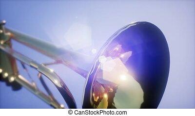4K Super slow motion brass trumpet