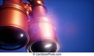 4K Super slow motion flying old military binoculars