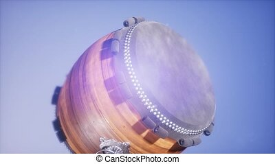 4K Super slow motion Ramadan drum at blue sky background