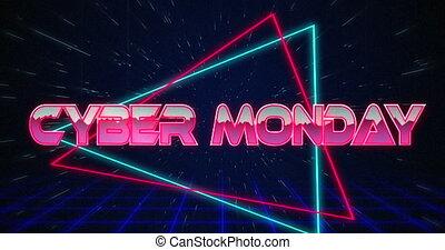 4k, sur, glitching, lundi, retro, triangles, cyber, texte, ...