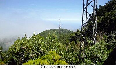 4k, tã©lã©viseur, élevé, ou, technologie, montagne, jungle,...
