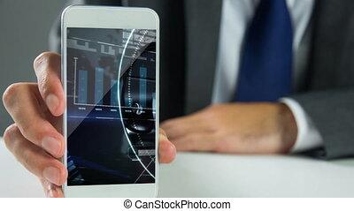 4k, téléphone, tenant portable, écran, homme affaires, interface