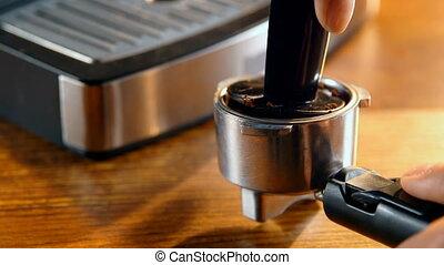 4k, tamping, café, portafilter