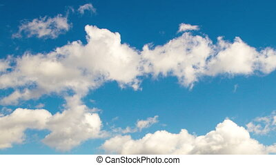 4k Taym laps daytime sky with fluffy clouds