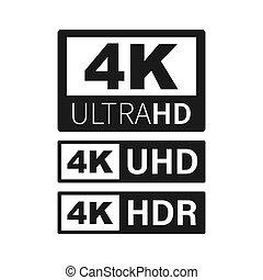 4k, technology., ultra, alto, televisione, condotto, vettore...