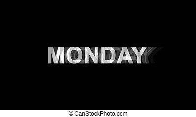 4k, telewizja, poniedziałek, zniekształcenie, skutek, cyfrowy, pętla, ożywienie, glitch, tekst