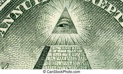 4K. The All Seeing Eye Of Providence On The Reverse Of The American Dollar. 2D Animation.
