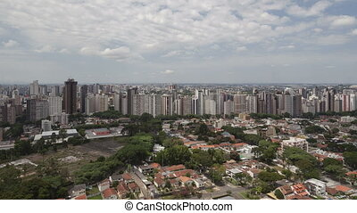 4K time lape zoom in aerial view Curitiba Skyline