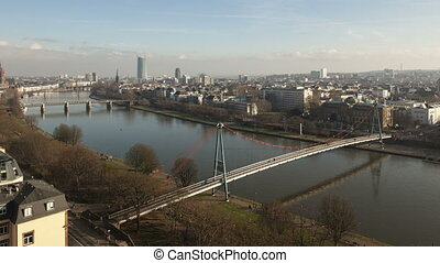 4K Time lapse aerial view Frankfurt river main