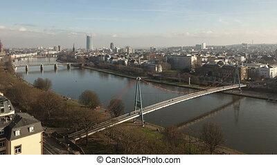 4K Time lapse aerial view Frankfurt river main