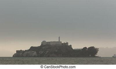 4K Time lapse Alcatraz Island in fog