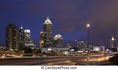 4K Time lapse Atlanta skyline at twilight