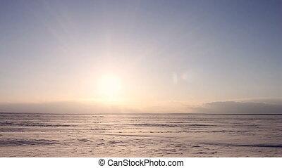 4K Time-lapse Beautiful Sunset on Arctic Alaska  Winter