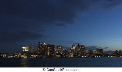 4K Time lapse Boston skyline at twilight