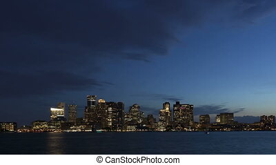 4K Time lapse Boston skyline at twilight