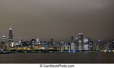 4K Time lapse Chicago skyline night