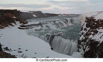 4K Time lapse close up Gullfoss waterfall