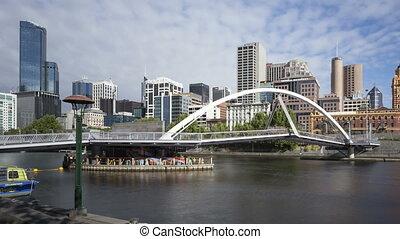 4K Time lapse close up pan shot Melbourne Seafarers Bridge Yarra River