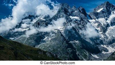 4K, Time Lapse, Cloud Formation At Col Du Lautaret, France - Cold Version, Pan