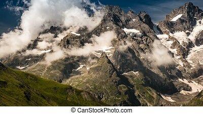 4K, Time Lapse, Cloud Formation At Col Du Lautaret, France - Neutral Version, Pan